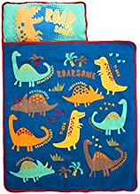 Funhouse Dinosaurs Kids Nap Mat Set – Includes Pillow and Fleece Blanket - Great for Girls Napping During Daycare, Preschool, or Kindergarten - Fits Toddlers and Young Children