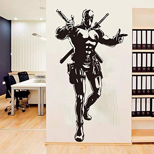 Hollywood Comics Movie Dead Masked Superhero Pool Assassin Double Swords Decal Dormitorio Sala de estar Decoración del hogar Vinilo Etiqueta de la pared Arte mural Póster