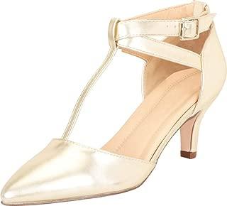 Cambridge Select Women's Pointed Toe T-Strap Mid Kitten Heel Pump