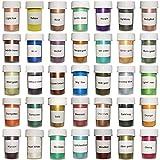 Pigmentos de polvo de mica de 35 colores - Tinte de jabón para hacer jabón, tinte de vela para hacer cera de soja, limos, bomba de baño, sombra de ojos, rubor, arte de uñas(35 x 5 g)