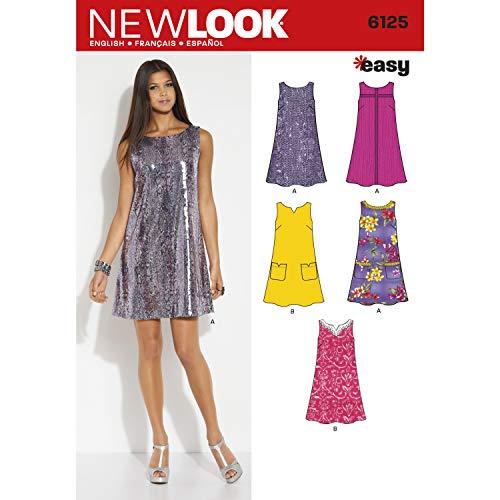 New Look 6125, Taglia 10/12/14/16/18/20/22-Cartamodelli per Abiti da Donna, Multicolore