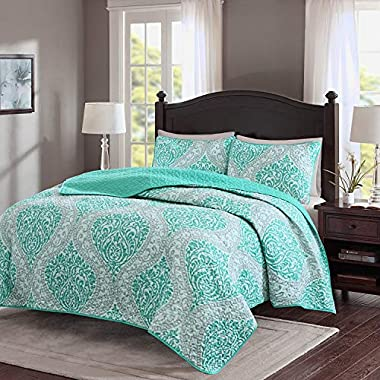 Comfort Spaces – Coco Mini Quilt Set - 3 Piece – Teal and Grey– Printed Damask Pattern – Full/Queen Size, Includes 1 Quilt, 2 Shams