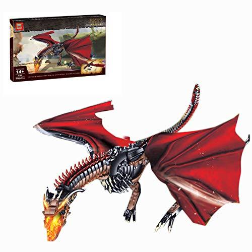 KOAEY Dragon Modèle Bloc de Construction avec Support de Base, 1889 pièces Game of Thrones Mythiques Dragon de Feu Jouet Compatible avec Lego