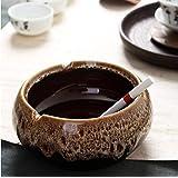 車の灰皿, 窯釉裏色の手作りの石器陶器の灰皿アンティークエナメルラージフラワー水耕肉、窯(ダイヤモンドブラウン)以上のことを、カラー:トラッド(アイボリー) (Color : Trad (Diamond Brown))