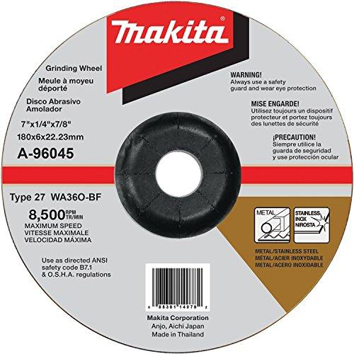 Makita A-96045 - Rueda de molienda INOX de 7 x 1/4 x 7/8 pulgadas, grano 36
