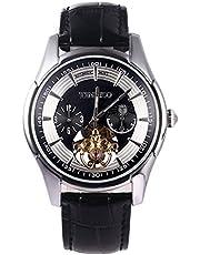 Time100 多機能 スケルトン ファッション オートマチック 機械式 本革 メンズ腕時計 #W60025G