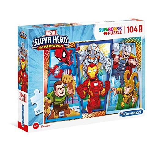 Clementoni- Marvel Super Hero Avengers Puzzle, 104 Maxi Pezzi, Multicolore, 23746