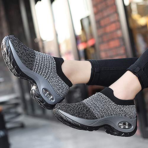 Women's Walking Shoes Sock Sneakers - Mesh Slip On Air Cushion Lady Girls Modern Jazz Dance Easy Shoes Platform Loafers Grey,8