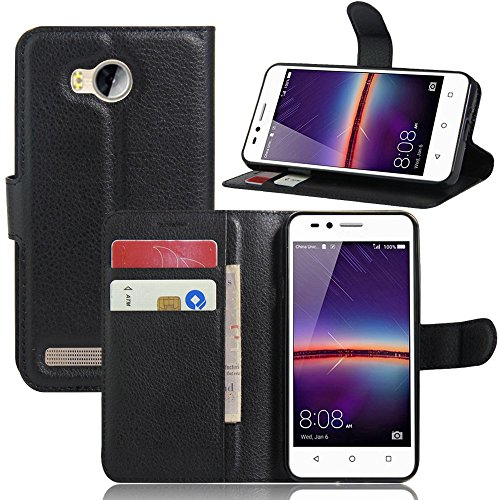 Ycloud Tasche für Huawei Y3 II Hülle, PU Ledertasche Flip Cover Wallet Case Handyhülle mit Stand Function Credit Card Slots Bookstyle Purse Design schwarz