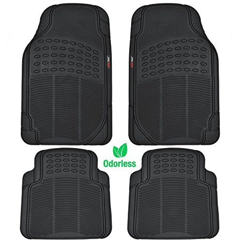MotorTrend MT-754-BK Heavy Duty Rubber Floor Mats - Odorless - All Weather Protection - Semi Custom Fit (Matte Black) 4 Pack