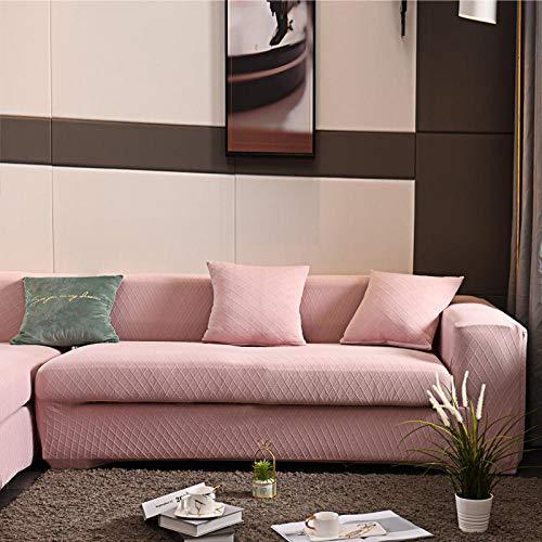 Fundas de Sofá 2 plazas, Fundas de sofá para Sala de Estar Funda de sofá de Licra elástica, Fundas elásticas en Forma de L Sofá Rosa 145-185cm