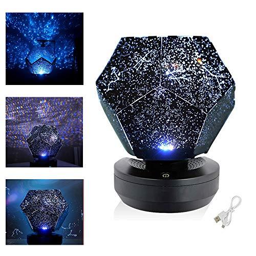 HWWGG Romantic Astro Planetario Star Celestial Proiettore Luce Cielo Notturno Lampada,3 modalità Colorate con Cavo USB, Romantic Stelle Celestial Proiettore 15×13×12.5cm  Blu