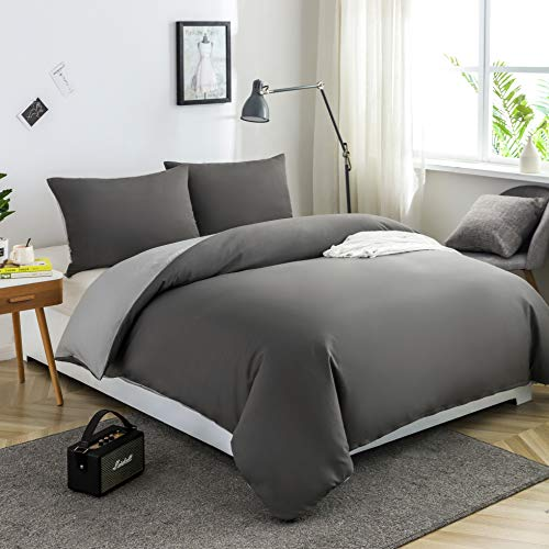 MOHAP Duvet Cover Set 3 PCS Double Plain Brushed Microfiber Bedding Duvet Cover with Pillowcases Dark Grey+Light Grey