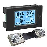 KETOTEK Amperometro Voltometro DC 100A Shunt Wattmetro Digitale da Pannello, Misuratore di Tensione Corrente Elettrica Potenza Energia 6.5-100V 100A Volt Amp LCD