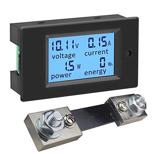 KETOTEK Voltimetro Amperimetro Digital 4 en 1 con 100A Shunt DC 6,5-100V, Medidor de Potencia Energia Electrica Probador de Voltaje Amperaje de Panel (Multimetro+100A 75mV shunt)