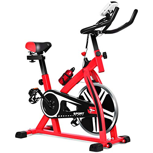 GYMAX Indoor Exercise Bike, Stationary Cycling Bike with Adjustable Resistance & LCD Monitor, Portable Wheels for Easy Transportation, Cardio Workout Training Bike