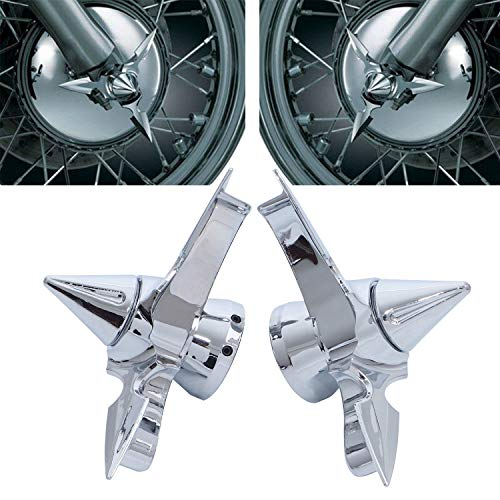Pair Spun Blade Spinning Chorme Front Axle Cap Nut Cover for Harley