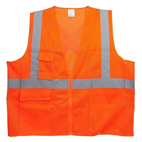 SAFEGEAR 5-pk. Type R Class 2 Safety Vest with Pockets and Zipper Closure - 4XL/5XL, Polyester Mesh Orange High Visibility Vest for Men or Women - J. J. Keller & Associates