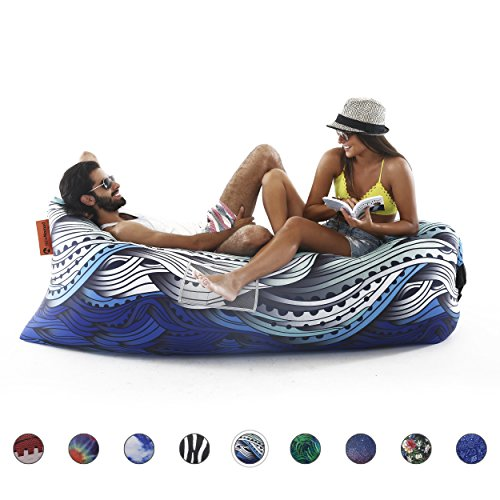 NewNomad Inflatable Lounge Chair, airsofa, Inflatable Lounger, lamzac, Ideal for Music Festival and Camping, Inflatable air Lounger. (Waves)