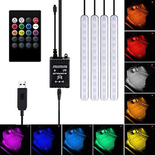 USB-Port Auto LED-Streifen Lichter Auto Innenraum LED RGB Licht 4 Streifen 48 LED Auto Atmosphäre Lampe Fernbedienung Musik Aktiviert Fußraum Streifen Licht