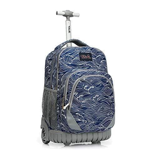 Tilami Rolling Backpack 19 inch Wheeled LAPTOP Boys Girls Travel School Student Trip, waves