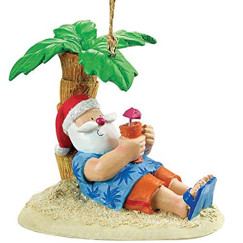Cape Shore Santa Relaxing Under a Palm Tree Beach Break Holiday Ornament