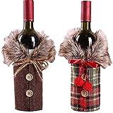 Sonder_de Bolsas de Botellas de Vino de Navidad, Cubierta de la Botella de Vino de la Navidad, 2 Piezas para Navidad, Fiestas, Decoraciones Mesa, Regalos
