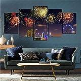 mmkow Impreso en Lienzo 5 Piezas Set fotografía Fuegos Artificiales Arte de la Pared Flor decoración del hogar 80x150cm (Marco)