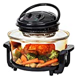 Best Choice Products 12L Electric Convection Glass Halogen Oven for Baking, Roasting, Steaming, Grilling w/Air Fryer Capabilities, Temperature and Time Dials, Automatic Shutoff, 2 Wire Racks, Tongs