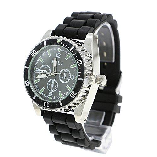 VANKER Hierbas Reloj de Pulsera de Silicona Banda de Aleación de Zinc Grinder Pesada Rueda de Spike Trituradora - Negro