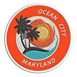 Ocean City, Maryland Sunset Scene Embroidered Premium Patch DIY Iron-on or Sew-on Decorative Badge Emblem Vacation Souvenir Travel Gear Clothes Appliques