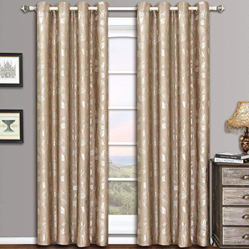 Charlotte Mocha Grommet Jacquard Window Curtain Panels, Pair / Set of 2 Panels, 52x96 inches Each, by Royal Hotel
