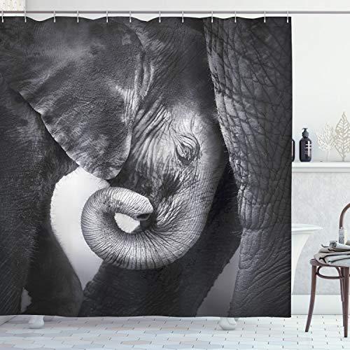 ABAKUHAUS Elefant Duschvorhang, Elefant Mutter & Baby, Wasser Blickdicht inkl.12 Ringe Langhaltig Bakterie & Schimmel Resistent, 175 x 200 cm, Holzkohle grau Hellgrau