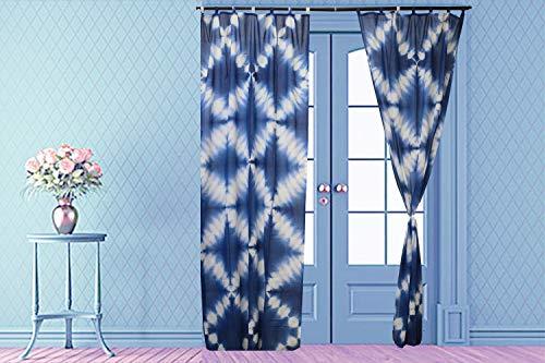 Indian Shibori Curtain, Indigo Sheer Curtain 96 Inches Long, Cotton Curtain, Decorative Door Curtain, Tie Dye Curtain for Living Room, Home Decor Curtain 1 Panel (Pattern 6, 44 x 96 Inches)
