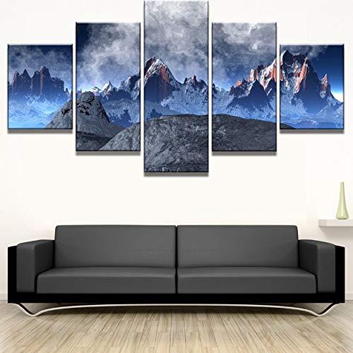 Hintergrundbild Art Kunst Poster Wohnkultur 5 Stück Schnee-Berge Gemälde Modular Drucke Abstrakte Landschaftsbilder Wohnzimmer Eingerahmt (Color : No Frame, Size (Inch) : 40x60 40x80 40x100cm)