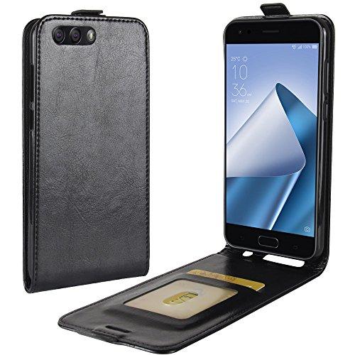Zl One Compatível com/Substituição para Capa de telefone Asus Zenfone 4 ZE554KL Couro Poliuretano Proteção Cartão Compartimentos Capa carteira Capa flip (Preto)