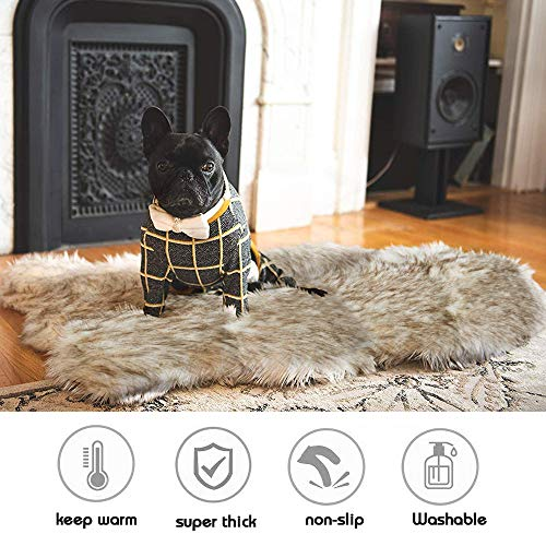 Faux Fur Pet Bed Mat, Thick Luxury Fur Throw Rug, Dog Cat Bed, Off White Fur with Brown Tips, Super Thick Padded with Removable & Washable Cover, Winter Warming Mattress for Dogs and Cats, Size L/XL
