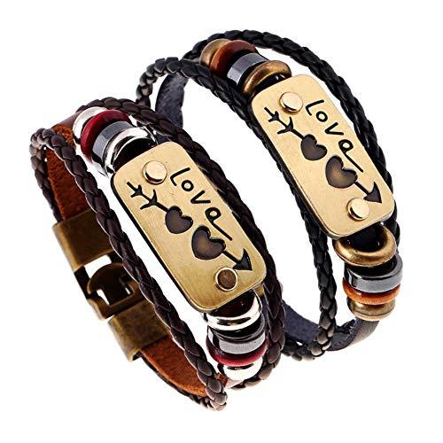 2pcs pareja pulsera trenzada amor corazón PU cuero broche brazalete pulsera mujeres hombres joyería vintage regalos en el día de san valentín cumpleaños boda fiesta
