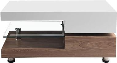 GOLDFAN Haute Brillance Table Basse Rectangulaire Pivotant à 2 Niveaux, Table de Salon Plateau en Verre avec Stockage, Design