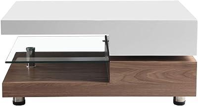 Goldfan Tavolino Recttangolare Legno Lucido Girevole A 2 Livelli Vetro Tavolino Salotto Piano Con Contenitore Design Originale Bianco Noce Amazon It Casa E Cucina