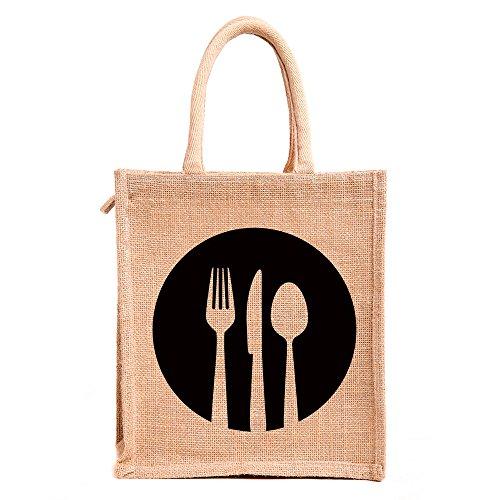 H&B Jute bags for lunch for men | Jute bags with zip | Jute Tote Bag | Jute Tiffin Bags | Printed Jute Bag | jute carry bag | Jute bag medium size (Print: Dine 3, Beige, Size: 11x9x6 Inch)