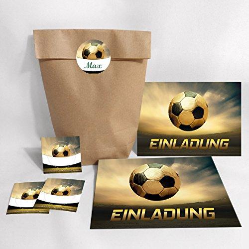 JuNa-Experten 12-er Set Einladungskarten, Umschläge, Tüten, Aufkleber zum Kindergeburtstag Geburtstag für Junge Fussball / Fußball Party / Bunte Einladungen zum Geburtstag