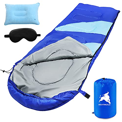 Schlafsack, Anschließbarer Deckenschlafsack 210 x 75 cm, Sleeping Bag mit Gratis 1 Augenbinde, 1 Kissen und 1 Tragetasche, 3-Jahreszeiten-Schlafsack für Kinder und Erwachsene, Camping, Wandern,Reisen