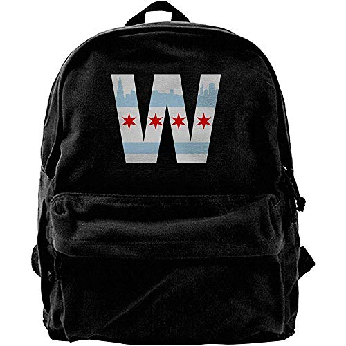 Yuanmeiju Computer Backpacks,College School Book Bags,Classic Canvas Daypack,Travel Rucksack,Chicago City Skyline W Flag Notebook Laptop Bag,Casual Shoulder Backpack