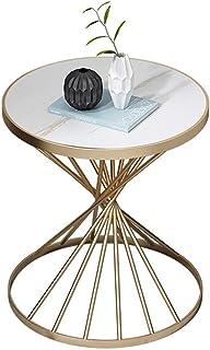 YTSFT Moderno Soggiorno Tavolo Tavolino Marmo Casa Ferro Battuto Mobile Divano Rotondo Tavolo Basso per Camera da Letto Moda Design-Oro Bianco/_Diametro 50 Cm Alto 45 Cm