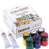 Decola | Set di colori per vetro e ceramica | set da 5 x 20 ml + diluente + 2 liner da18 ml | colori per vetro permanenti | colori per ceramica | tubetti richiudibili | da Neva Palette