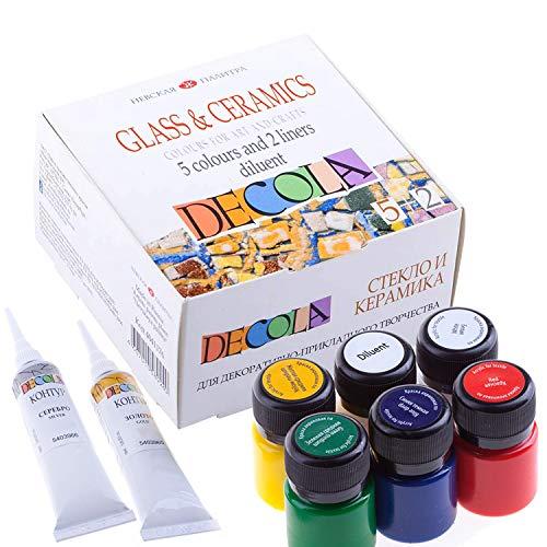 Decola Porzellanfarbe Set | Glasmalfarben Set - 5 x 20 ml Farben + 2 x 18 ml Konturenfarben + 20 ml Verdünner | Hohe Abdeckung  auf dunklen Oberflächen und hoch deckend von Neva Palette
