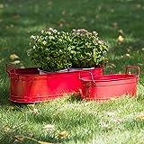 HORTICAN Garden Decor Flower Pot, Versatile Metal Tub for Plants, Oval...
