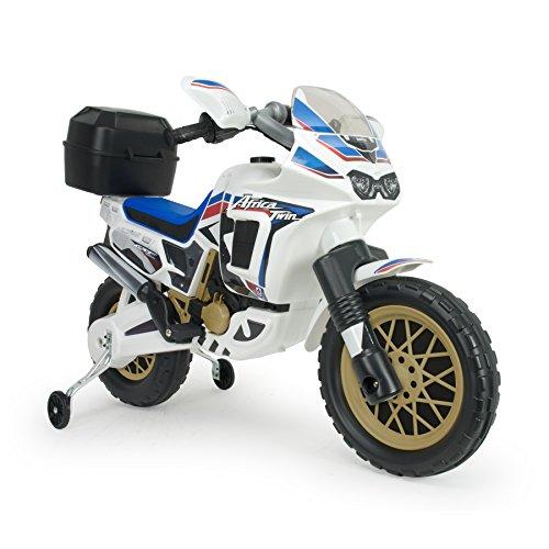 Injusa - Moto Honda Africa Twin eléctrica 6V para niños +3 años con maleta para casco y acelerador en el puño, blanco (6820)