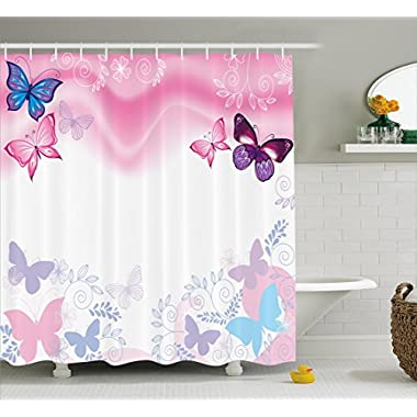 Ambesonne Teen Girls Decor Collection, Flowers and Butterflies Curly Wavy Leaves Insect Summertime Artistic Design, Polyester Fabric Bathroom Shower Curtain Set with Hooks, Blue Pink White